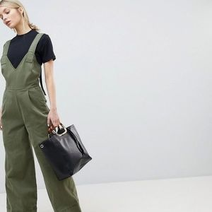 new ASOS DESIGN Jumpsuit In Twill With Tie Detail